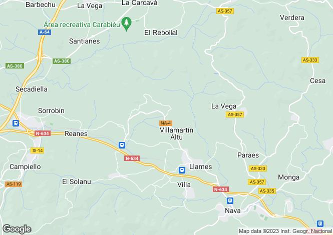 Map for Asturias, Oviedo, Nava