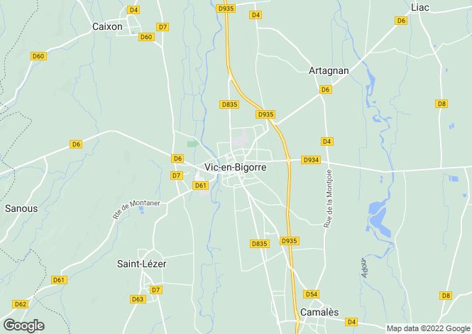 Map for Vic-En-Bigorre, Midi-Pyrenees, 65500, France