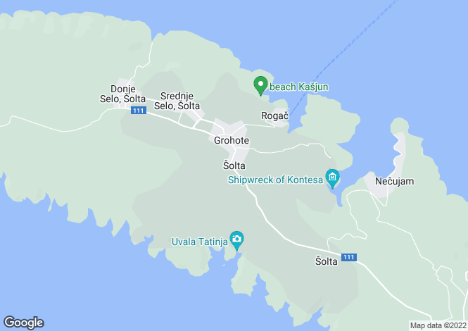 Map for Split-Dalmatia, Solta Island