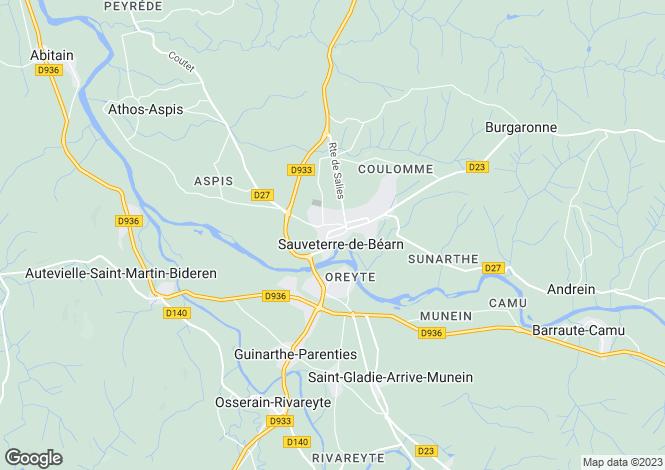 Map for Aquitaine, Pyrénées-Atlantiques, Sauveterre-de-Béarn
