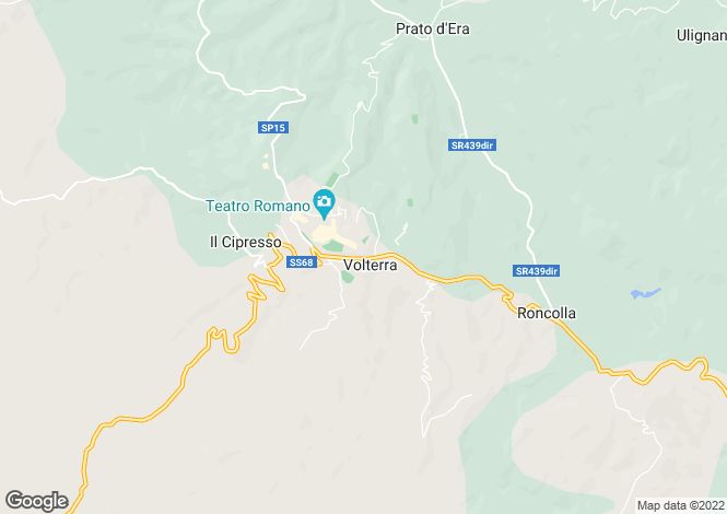 Map for Volterra, Pisa, Italy