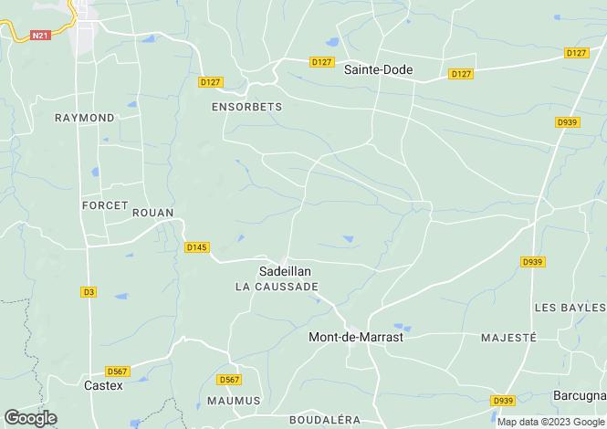 Map for Midi-Pyrénées, Gers, Sadeillan