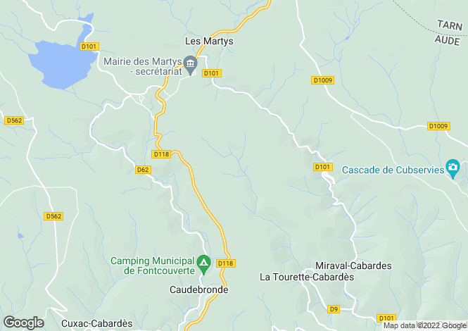 Map for Languedoc-Roussillon, Aude, Les Martys