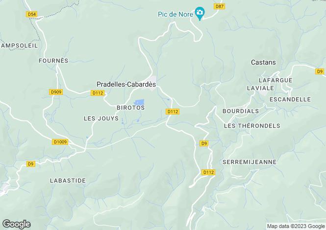 Map for Languedoc-Roussillon, Aude, Pradelles-Cabardès
