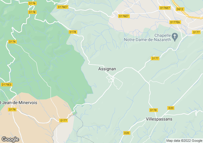 Map for Languedoc-Roussillon, Hérault, Assignan