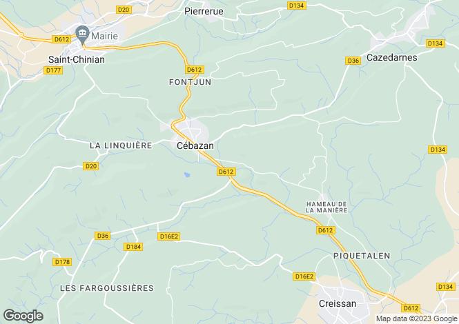 Map for Cébazan, Hérault, Languedoc-Roussillon