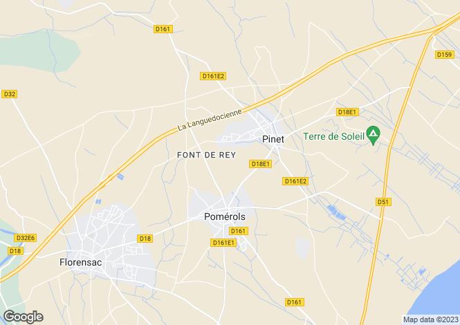 Map for Languedoc-Roussillon, Hérault, Pomérols
