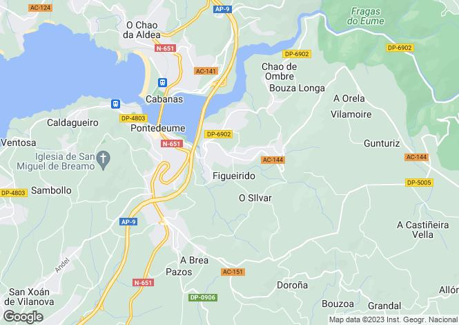 Map for Galicia, A Coruña, Pontedeume