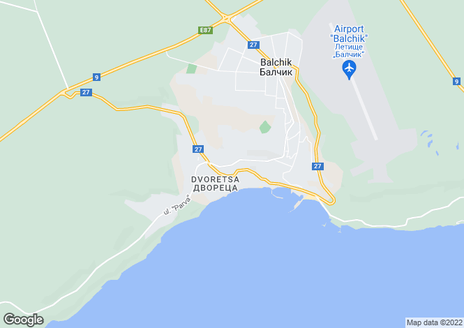 Map for Dobrich, Balchik