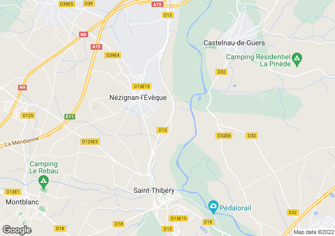 Map for Nezignan L'eveque, Herault, 34120, France