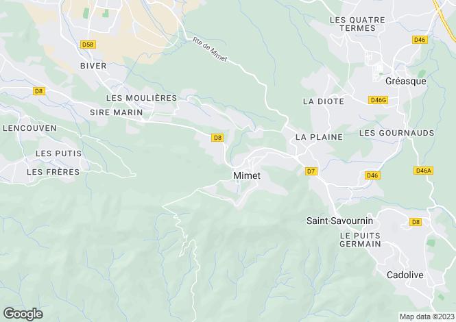 Map for mimet, Bouches-du-Rhône, France
