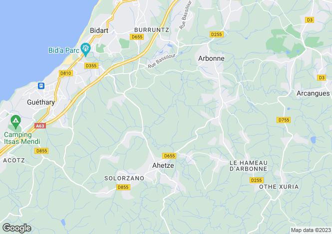 Map for AHETZE ,France