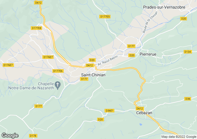 Map for Languedoc-Roussillon, Hérault, St-Chinian