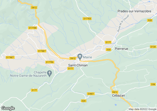 Map for St-Chinian, Hérault, Languedoc-Roussillon