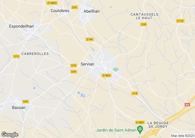 Map for Servian, Hérault, Languedoc-Roussillon