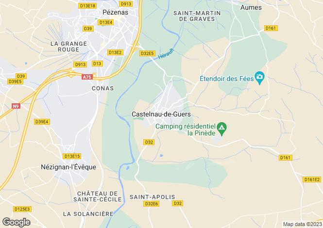 Map for Castelnau De Guers, Languedoc-Roussillon, France