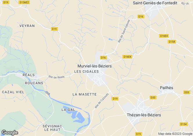 Map for Murviel-Les-Beziers, Languedoc-Roussillon, 34490, France