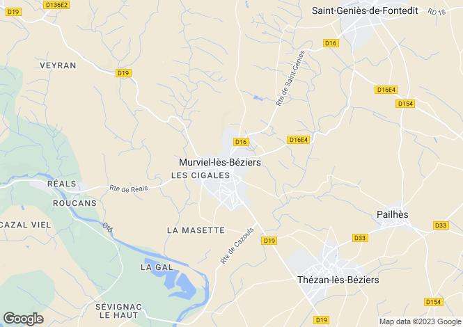 Map for murviel-les-beziers, Hérault, France