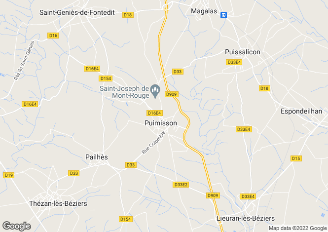 Map for Puimisson, Hérault, Languedoc-Roussillon