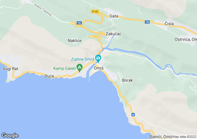 Map for Modern Villa, Omis, Split-Dalmatia