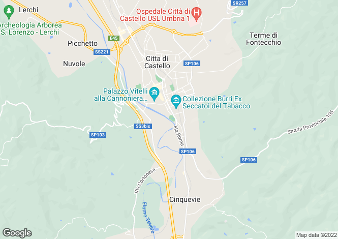 Map for Umbria, Perugia, Città di Castello