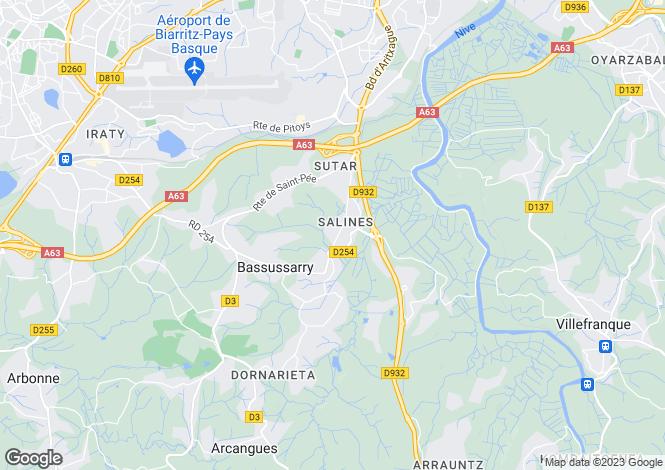 Map for bassussarry, Pyrénées-Atlantiques, France
