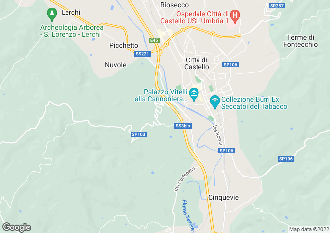 Map for Villa Carlina, Citta di Castello, Umbria, Italy