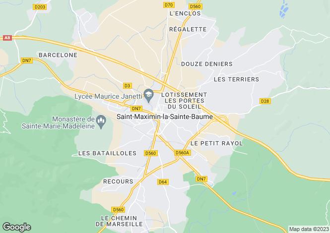 Map for Saint Maximin La Sainte Baume, Var, Provence