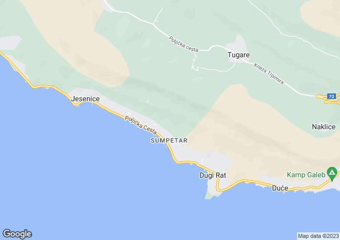 Map for Split-Dalmatia, Dugi Rat