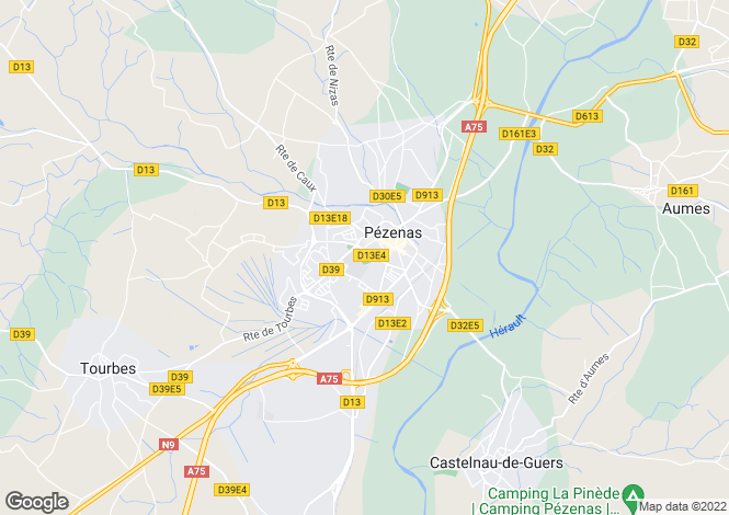 Map for Languedoc-Roussillon, Hérault, Pézenas