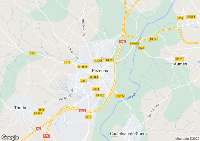Map for Pezenas, Languedoc-Roussillon, 34120, France
