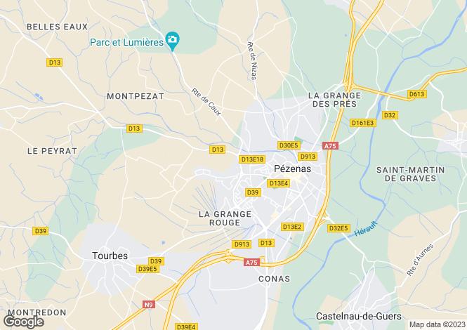 Map for Pézenas, Hérault, Languedoc-Roussillon