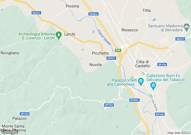 Map for Città di Castello, Perugia, Umbria