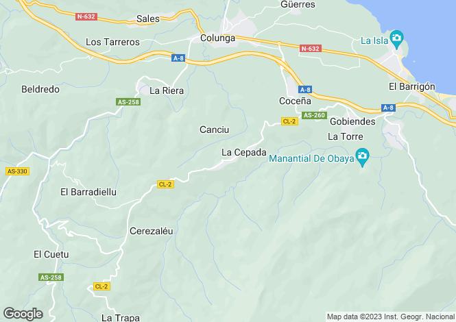 Map for Carrandi, Asturias, Spain