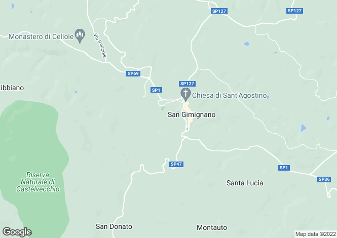 Map for Tuscany, Siena, San Gimignano