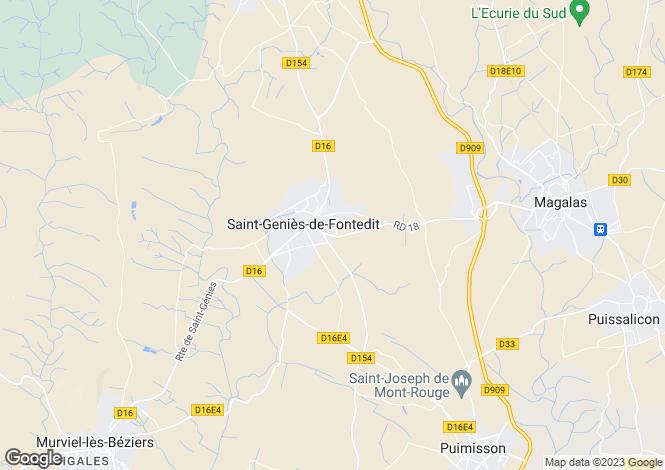 Map for St-Geniès-de-Fontedit, Hérault, Languedoc-Roussillon