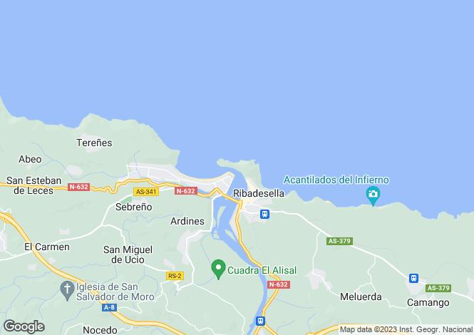 Map for Asturias, Oviedo, Ribadesella
