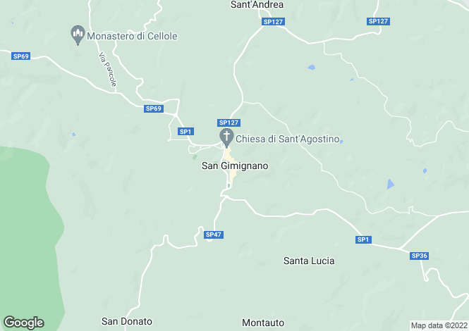 Map for San Gimignano, Tuscany, Italy