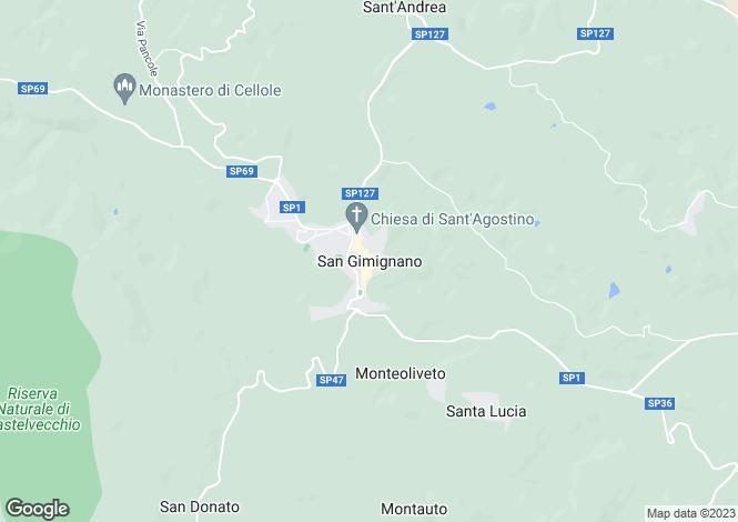 Map for San Gimignano, Tuscany, Italy