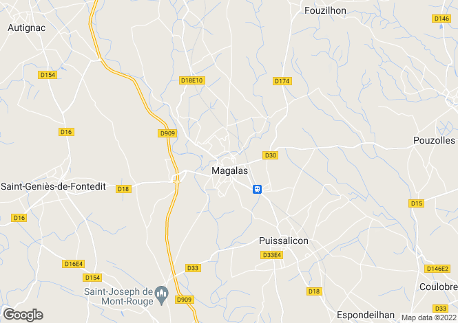 Map for Magalas, Hérault, Languedoc-Roussillon