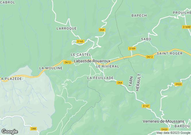 Map for Midi-Pyrénées, Tarn, Labastide-Rouairoux