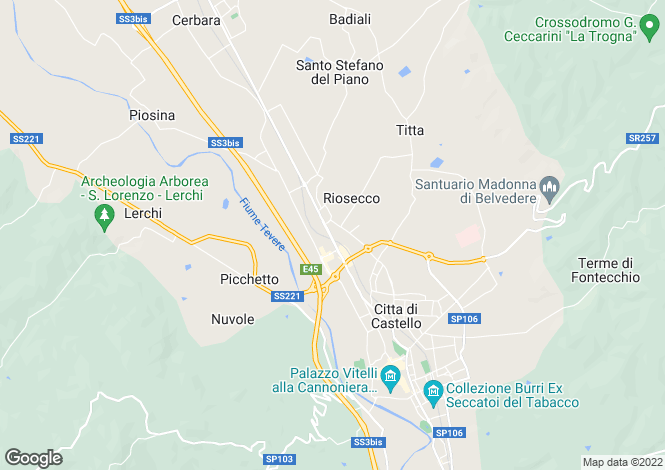 Map for 4 Bedroom Property, Città di Castello, Umbria