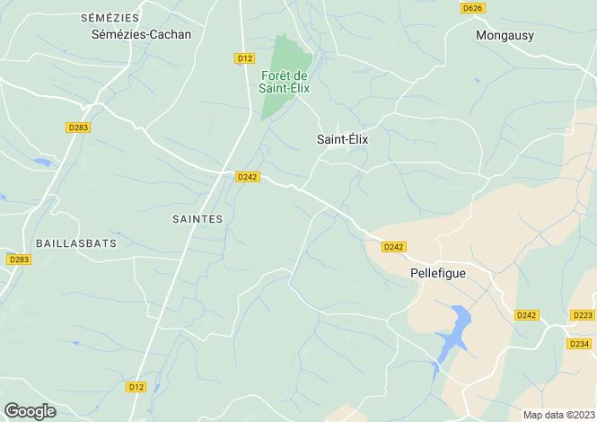 Map for Midi-Pyrenees, Gers, Saint-Élix