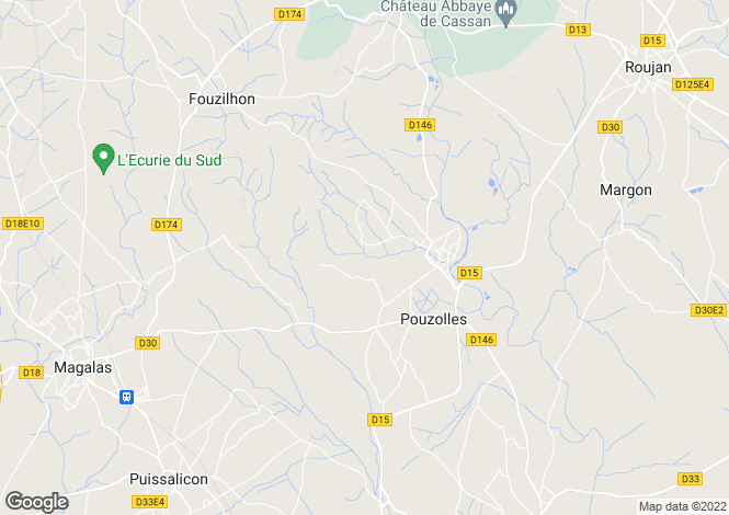 Map for Pouzolles, Hérault, Languedoc-Roussillon