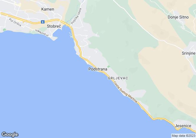 Map for Split-Dalmacija, Podstrana, Croatia