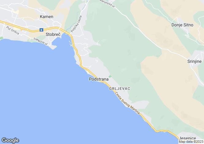 Map for Podstrana, Split, Croatia