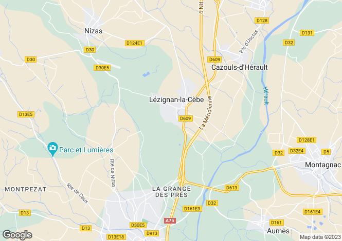 Map for Lézignan-la-Cèbe, Hérault, Languedoc-Roussillon