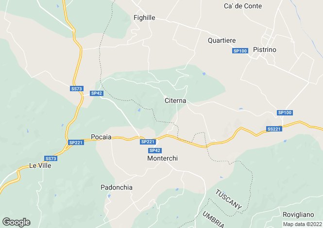 Map for Umbria, Perugia, Citerna