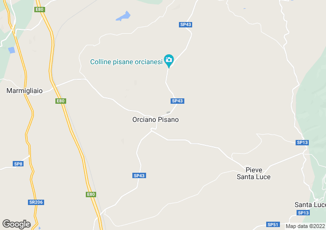Map for Tuscany, Pisa, Orciano Pisano