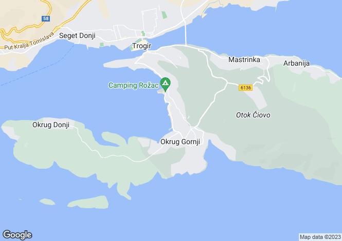 Map for Ciovo Island, Split-Dalmatia